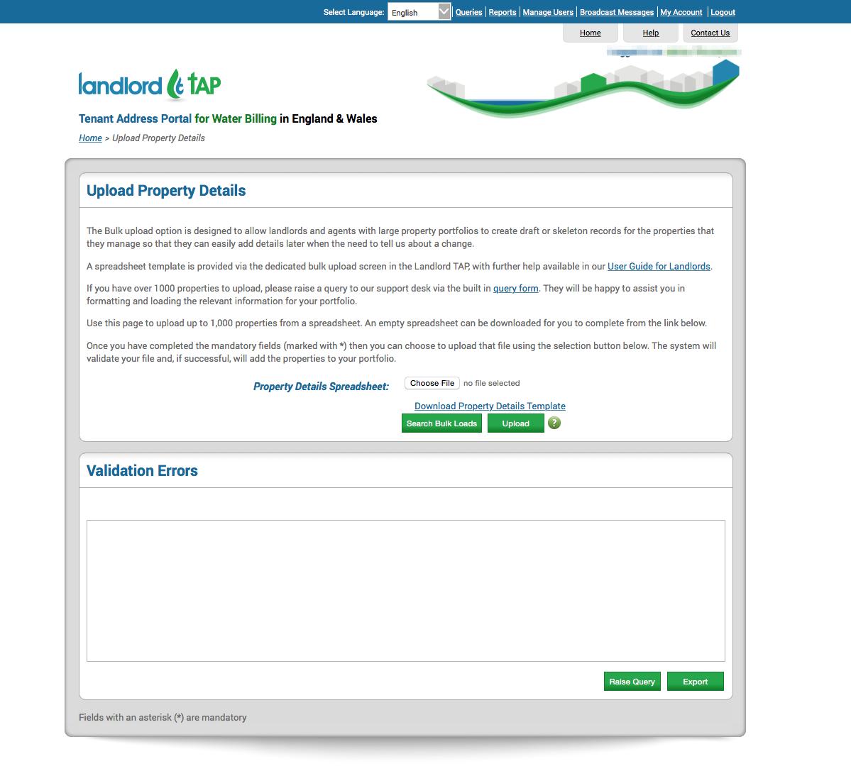 Tenant Address Portal (www.landlordtap.com) bulk upload page