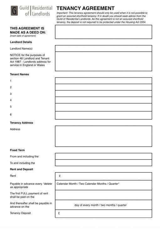Contractual (common law) tenancy agreement