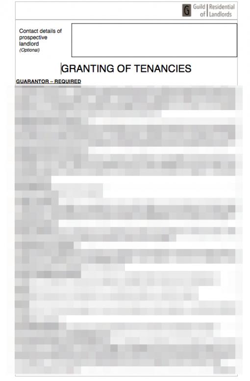 Granting of tenancies sheet for tenants