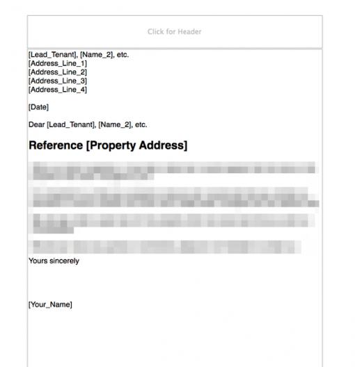 Letter asking tenant to put locks back