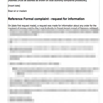 Complaint re refusal provide housing benefit payments details