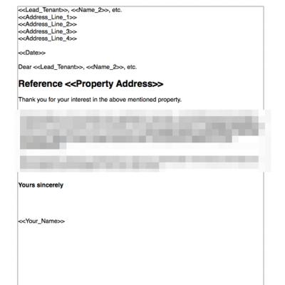 Inform tenant unsuccessful application for tenancy