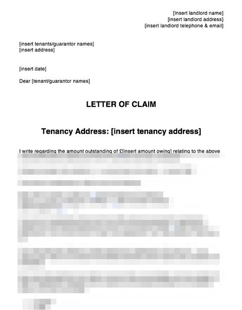 Letter Of Claim Pre Action Letter Arrears Or Damages Tenant Or