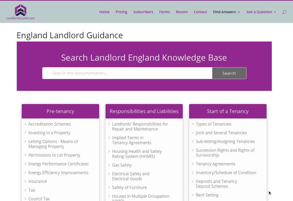 Landlord handbook website version England