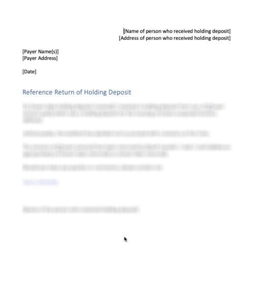 Letter returning holding deposit in full
